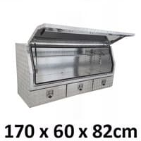 1700 x 600 x 820mm Aluminium 3 Slide Drawer Ute Truck Toolbox Tool Box 1768A