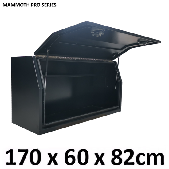 1700 x 600 x 820mm Flat Black Alloy Ute Truck Trailer Full Side Toolbox Tool Box M-1768FD-B