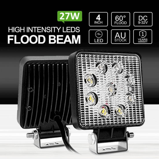 2x 27W LED Work Light FLOOD Bar 12V 24V Car Ute Boat Toolbox Camping L