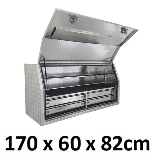 Aluminium Toolbox Side with Built in 4 Drawers Truck Ute Tool Box 1768FD-4
