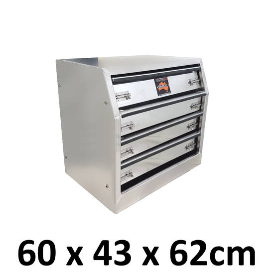 600 x 430 x 620mm Aluminium Toolbox Canopy Camper Tool Box Drawer Unit 646D